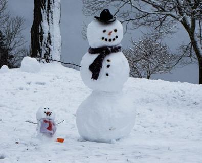 雪だるまの飾り付け