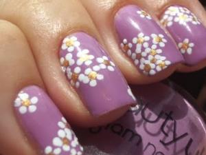 紫ネイルお花