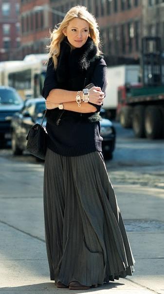 ロングスカート冬ファッション