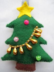 クリスマスツリーフエルトオーナメント