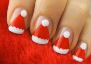 サンタの帽子クリスマスネイル