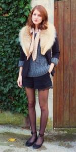 ファーマフラーファッションコーディネート例