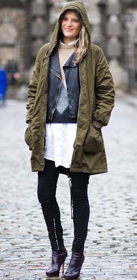 かわいいモッズコート着こなし例