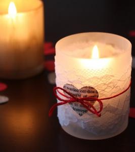 手作りバレンタインキャンドルホルダー