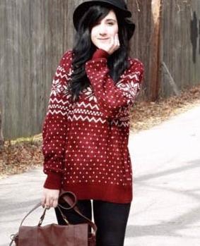 赤いノルディックセーター着こなし