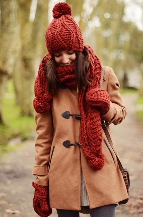 赤さし色コーデ冬