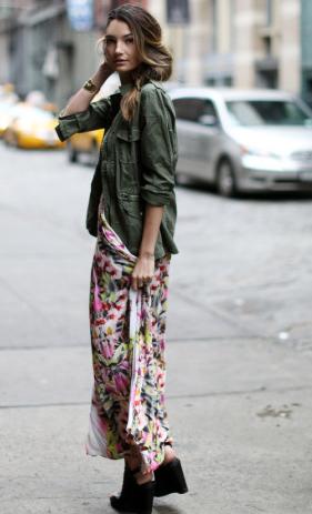 花柄ロングスカート着こなし