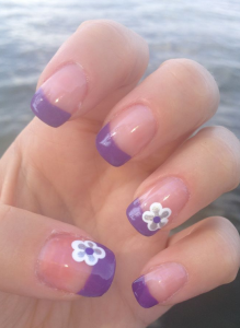 紫ピンク浴衣ネイル