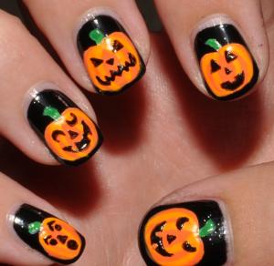 ハロウィンかぼちゃおばけネイルやり方