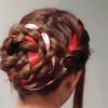 リボン編み込みヘアアレンジやり方