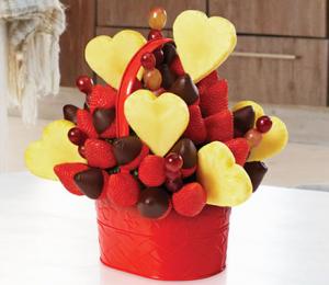 バレンタインフルーツバスケット盛り付け